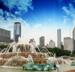 Fountain and Skyscrapers of Chicago - Illinois - USA