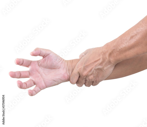 Hand bent isolated on white background, with clipping path