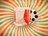 Fototapety Retro background with Popcorn and a drink. Vector illustration