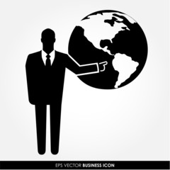 Businessman pointing on the globe