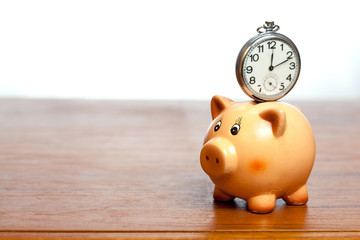 Clock on a piggy bank