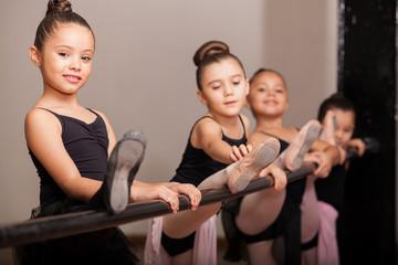 Happy ballet dancer during class