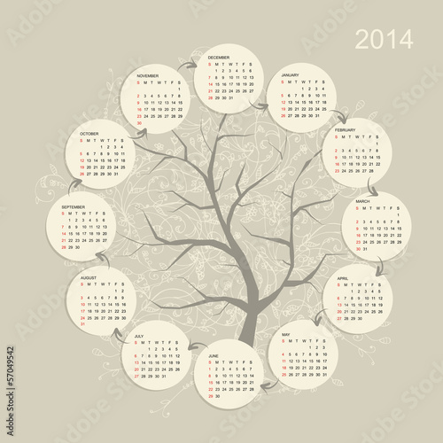 Calendar grid 2014 for your design