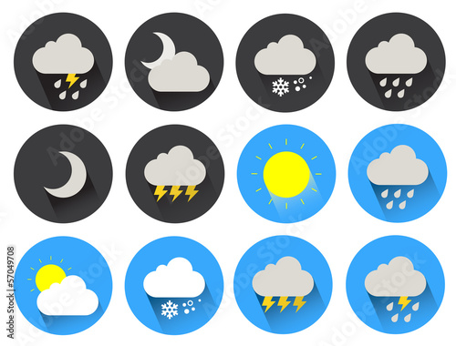 round flat icons set 2 weather