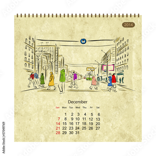 Calendar 2014, december. Streets of the city, sketch