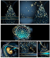 Merry Christmas background collections gold and blue