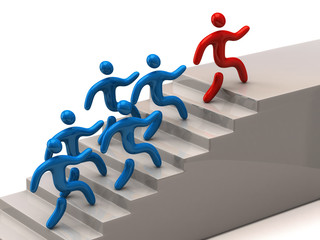 Leadership concept. Leader climbing up stairs