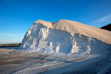 Ibiza ses Salines saltworks white salt mountain