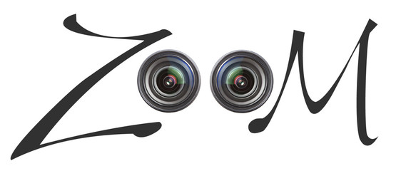 Zoom sign with camera lenses over white