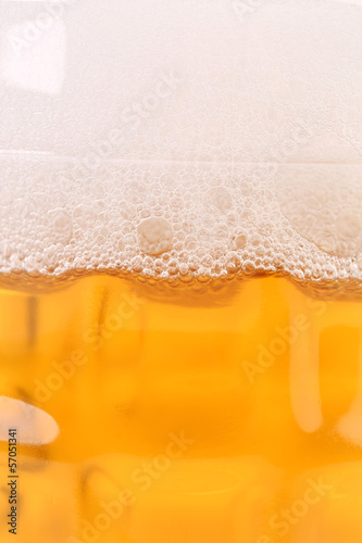 Close up of beer with foam.