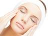 Calm blonde model wearing headband closing eyes