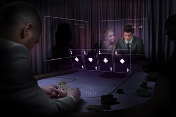 People gambling on table in purple light with holographic card d