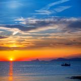 Fototapety Ibiza sunset Es Vedra view and fisherboat formentera