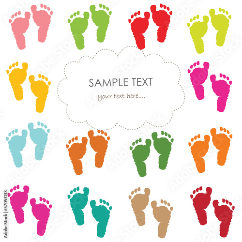 Baby footprints greeting card vector