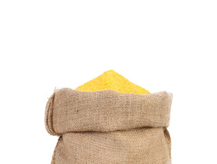 Closeup of sack with corn flour.