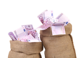 Euro bill in big sacks.