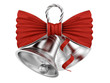 render of silver bells with red bow