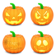 render of pumpkins, isolated on white