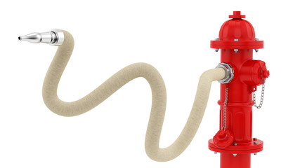 render of a red fire hydrant with hose