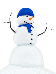 render of a snowman with blue knitted cap and scarf,
