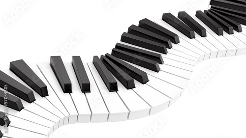 render of curvy piano keyboard
