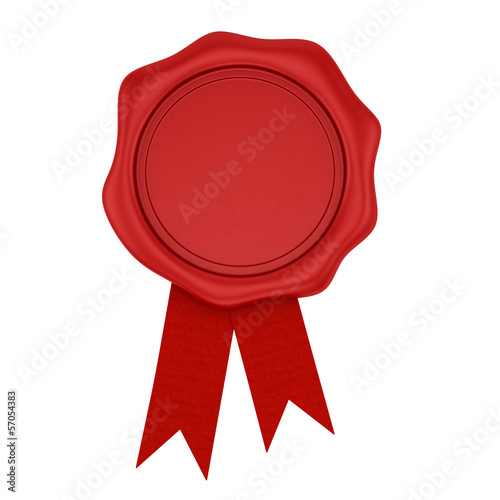 render of a red wax seal with ribbon