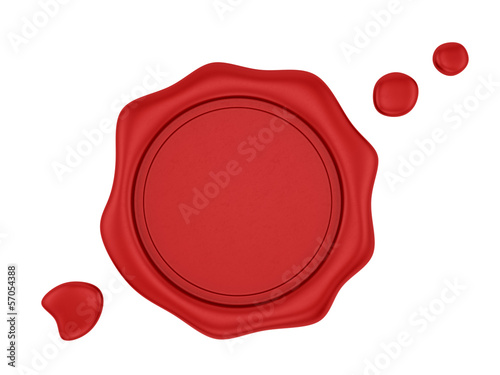 render of a red wax seal, isolated on white
