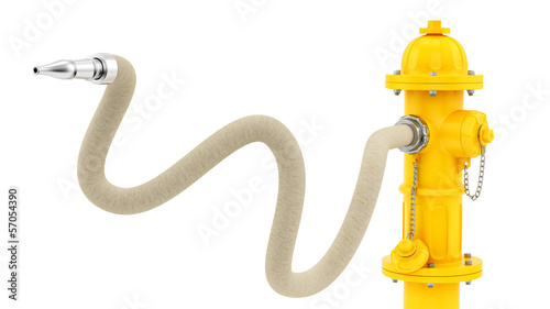 render of a yellow fire hydrant with hose
