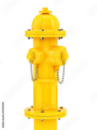render of a yellow fire hydrant isolated on white