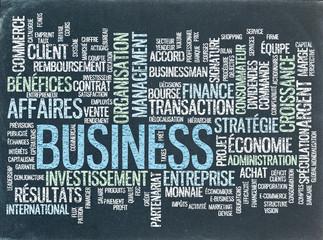 """Nuage de Tags """"BUSINESS"""" sur Tableau Noir (affaires commerce)"""