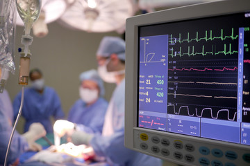 heart monitor in operating theater