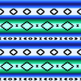 Striped mexican blanket seamless pattern in blue and green
