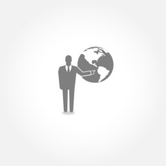 Businessman touching globe icon