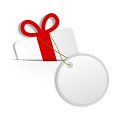Weißes Geschenk mit Schild