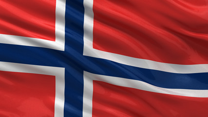 Flag of Norway waving in the wind