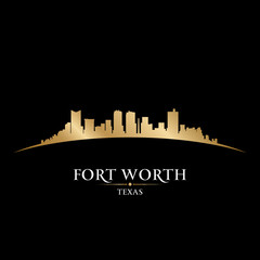 Fort Worth Texas city skyline silhouette black background