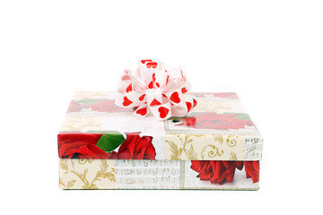Colorful gift box with ribbon.