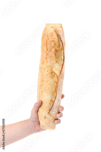 Crackling bread in a hand.