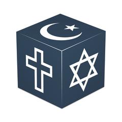 Christianity, Islam, Judaism - Midnight Blue Cube