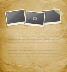 Vintage Instant photo on old paper design background, Vector