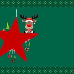 Rudolph Sitting On Red Star & Symbols Green Dots