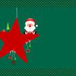 Santa Glasses On Red Star & Symbols Green Dots