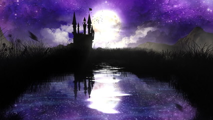 Magic Night over the pond with castle - loop