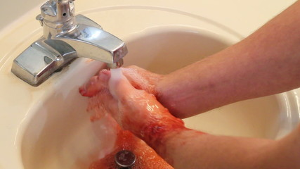 Washing Bloody Hands in sink Horror Clip