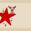 Rudolph Sitting On Red Star & Symbols Beige Dots