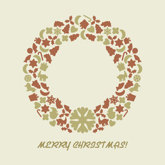 Christmas wreath in retro style