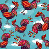 crowing rooster seamless, wallpaper, eps8