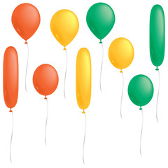 Orange, yellow and green balloons