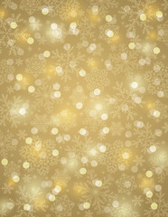 golden background with snowflakes, vector