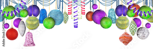 multicolored christmas balls isolated